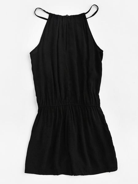 Black Sleeveless Embroidered Tape Detail Cami Romper