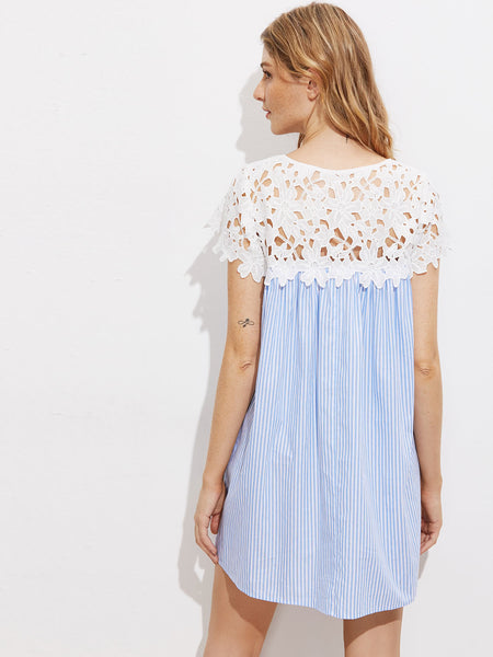 Blue Stripe Round Neck Contrast Floral Crochet Mini Dress