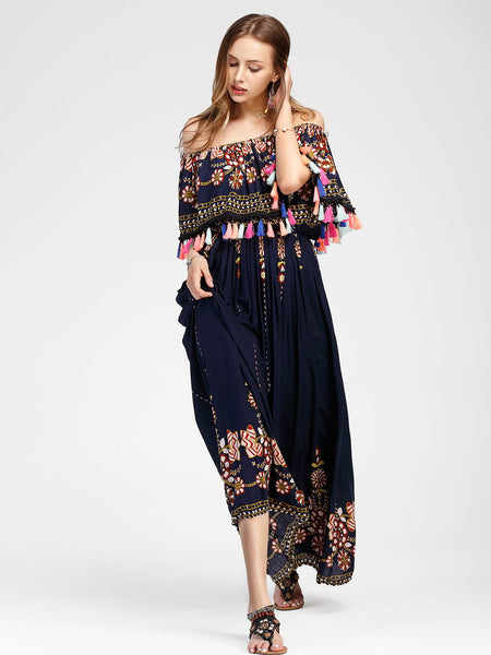 Navy Aztec Print Layered Neckline Tassel Trim Maxi Dress