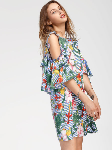 Multicolor Tropical Print Cold Shoulder Frilled Dress