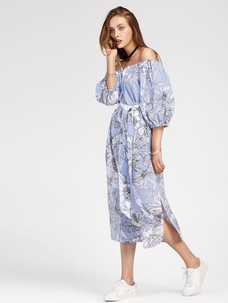 Blue Striped Bardot Self Tie Floral Dress With Slit Side