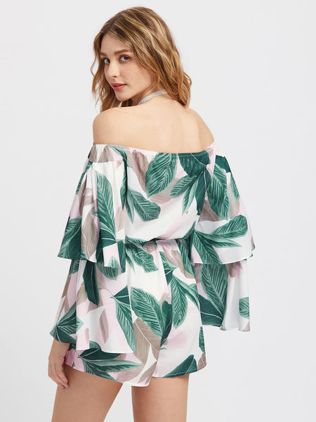 Multicolor Off Shoulder Palm Leaf Print Double Layered Bell Sleeve Romper