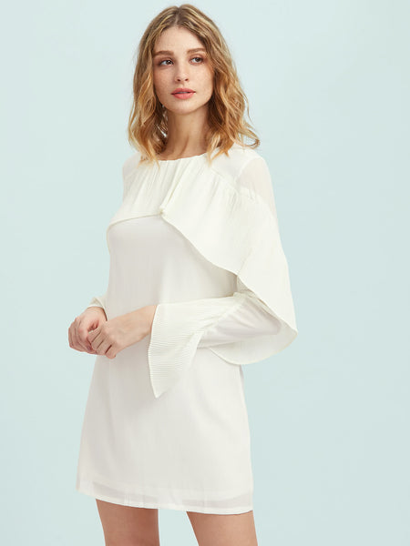 White Round Neck Pleated Flounce Trim Dress