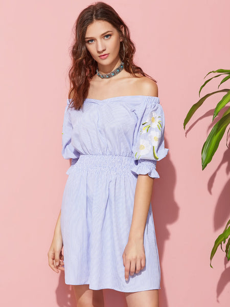 Blue Pinstripe Off Shoulder Daisy Embroidered Shirred Detail Dress