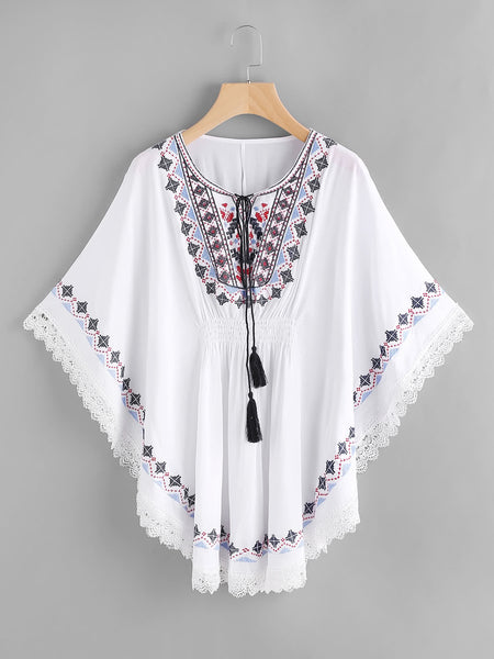 White Embroidered Tassel Tie Tribal Print Lace Trim Kaftan Dress