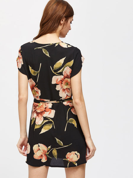 Black Capped Sleeve Floral Print Wrap Dress