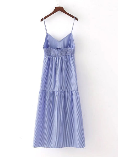 Blue Embroidered Vertical Striped Slip Cami Dress