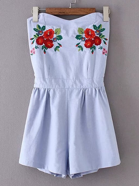 Blue Tube Flower Embroidered Open Back Playsuit