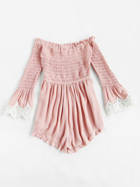 Pink Off Shoulder Tassel Self Tie Smocked Bell Sleeve Romper