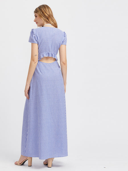 Blue Striped Short Sleeve Knot Front V-Neck Sexy Back Maxi Dress