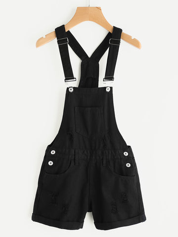 Black Plain Sleeveless Distress Cuffed Pinafore Playsuit