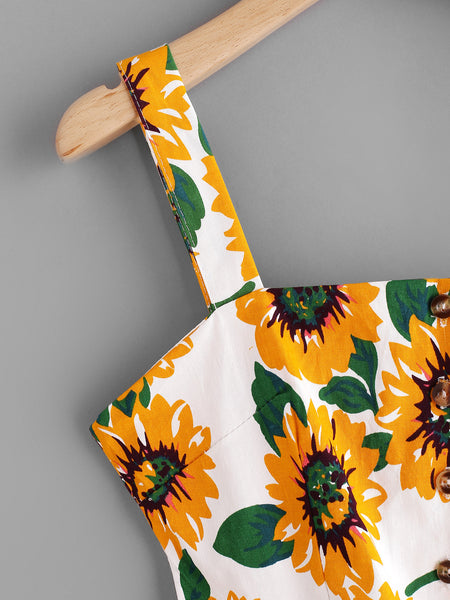 White Sunflower Print Single Breasted Cut Out Dress