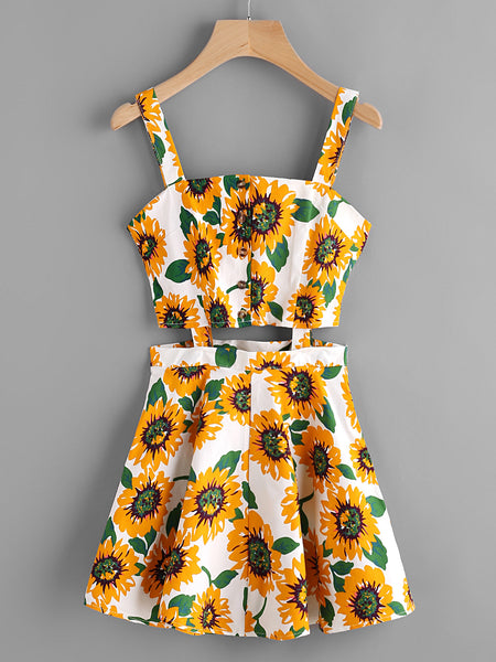66a708d4a0f9 White Sunflower Print Single Breasted Cut Out Dress – Lyfie