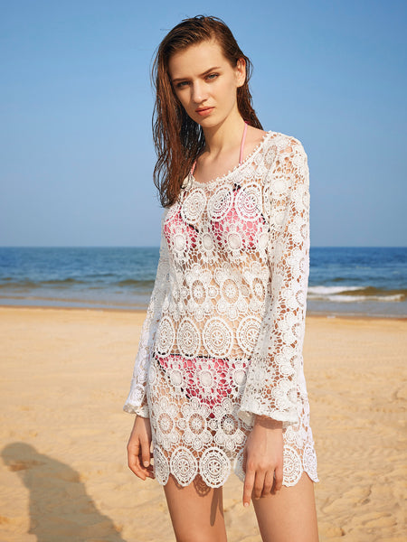 White Crochet Lace Long Sleeve Cover Up Dress