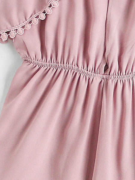 Pink Plain Short Sleeve V-Neck Cami Straps Cold Shoulder Split Back Lace Insert Romper