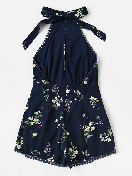 Blue Halterneck Open Front Sexy Back Sleeveless Floral Playsuits
