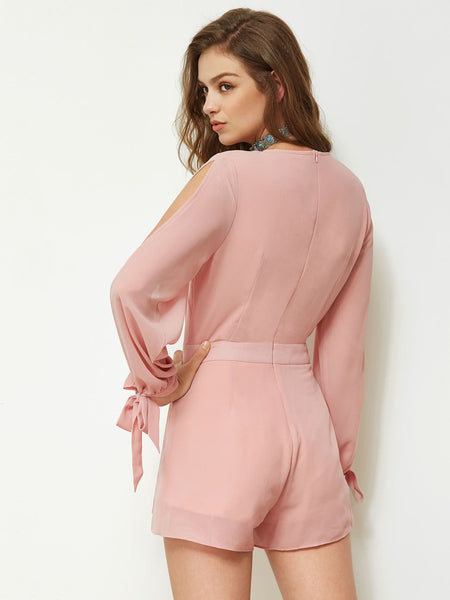 Pink Plain Split Sleeve V-Neck Bow Tie Cuff Playsuit