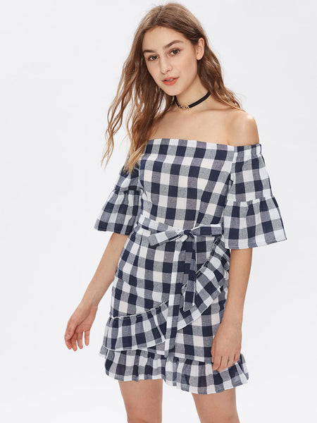 4312d7fb5b66 Navy Checkered Ruffle Trim Off Shoulder Tie Waist Dress – Lyfie
