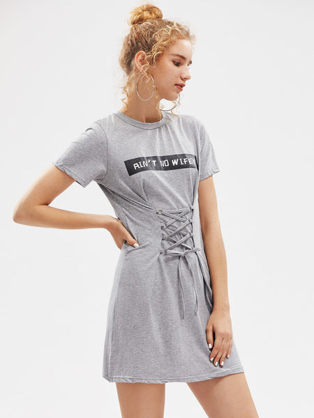 Grey Short Sleeve Letter Print Round Neck Lace Up Corset Mini Dress