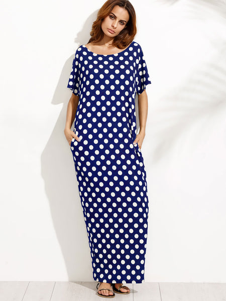 Blue Polka Dot Scoop Neck Side Pocket Cocoon Dress