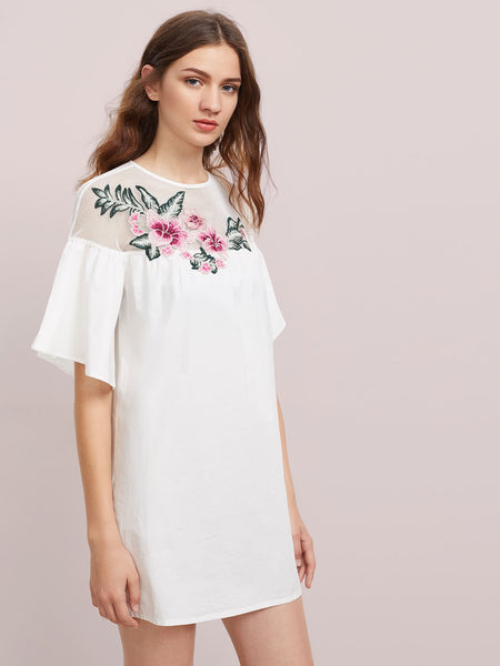 White Half Flare Sleeve Embroidered Flower Fishnet Smock Dress