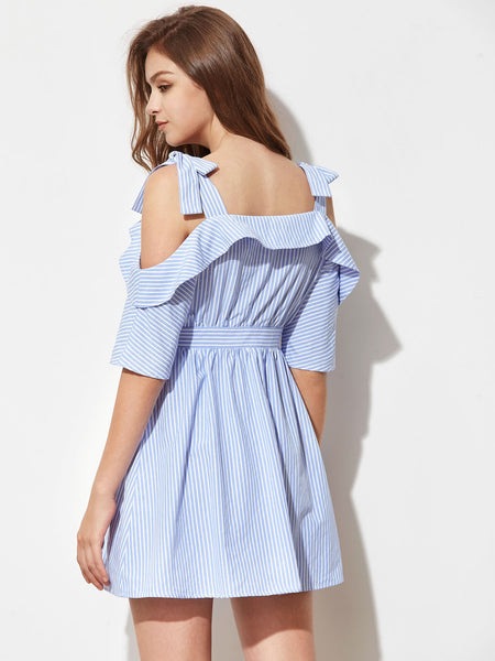 Blue Half Sleeve Cold Self Tie Shoulder Button Front Dress