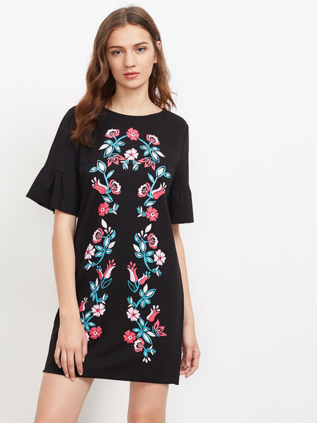 Black Floral Embroidered Round Neck Fluted Sleeve Keyhole Back Mini Dress