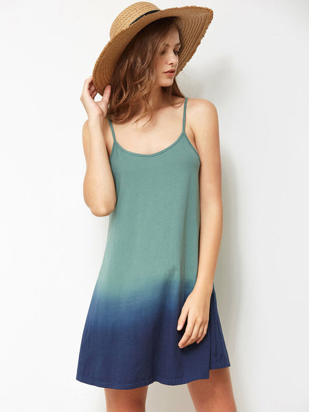 Multicolor Color Block Adjustable Strap Cami Dress