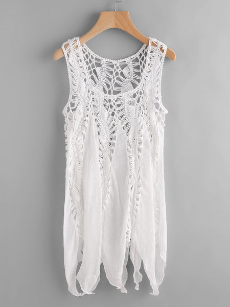White Sleeveless Crochet Asymmetrical Cover Up