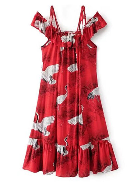 Red Swan Print Ruffle Trim Cold Shoulder Dress