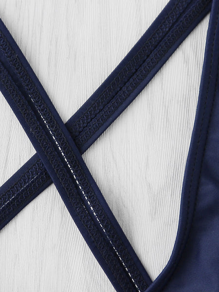 Navy Criss Cross Back Letter Print Monokini
