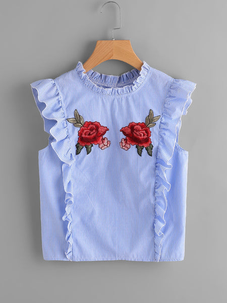 Blue Stripe Rose Embroidered Ruffle Detail Sleeveless Button Back Blouse