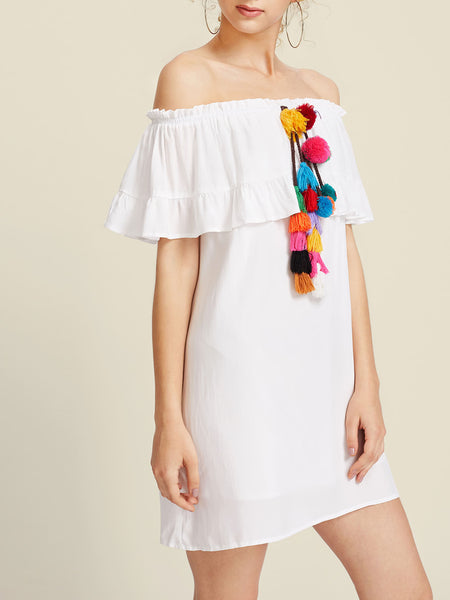 White Off Shoulder Pom Pom and Tassel Detail Layered Bardot Dress