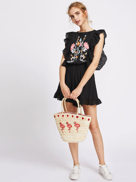 Black Floral Print Round Neck Sleeveless Eyelet Embroidered Trim Split Back Blouson Playsuit