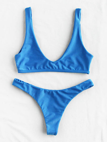 Blue Plunge Neckline High Leg Bikini Set