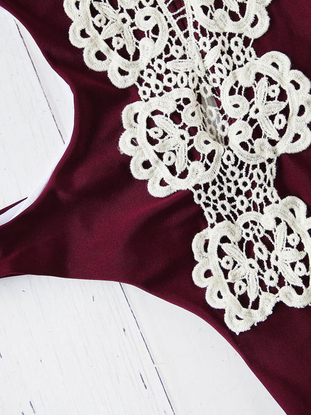 Burgundy Deep V-Neck Contrast Crochet Monikini
