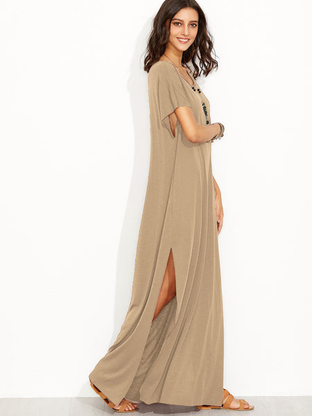 Apricot Scoop Neck Side Split Loose Maxi Tee Dress