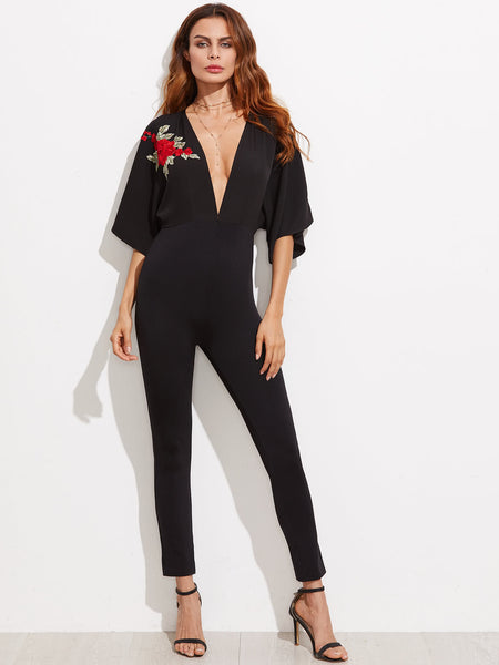 Black Half Sleeve V-Neck Flower Embroidered Applique Kimono Sleeve Skinny Jumpsuit