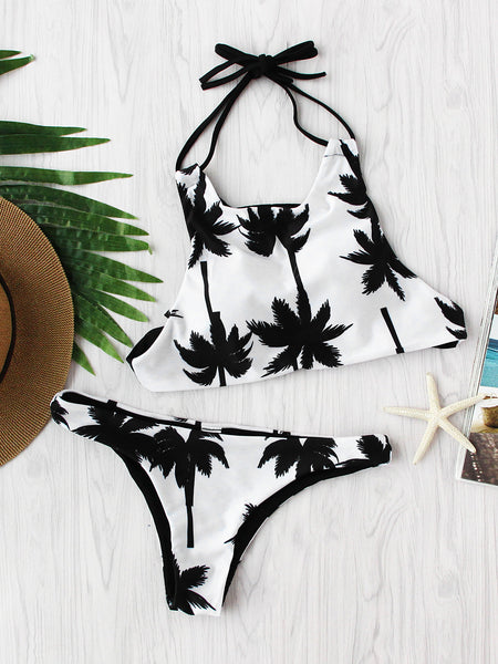 White Palm Tree Print Halter Neck Padded Bikini Set
