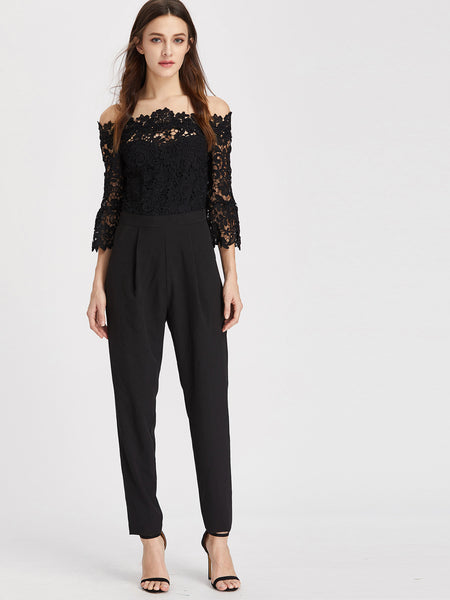5e764d0f11e8e3 Black Lace Overlay Off Shoulder Top Tapered Jumpsuit – Lyfie