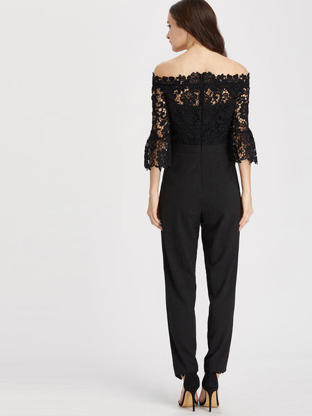 Black Lace Overlay Off Shoulder Top Tapered Jumpsuit
