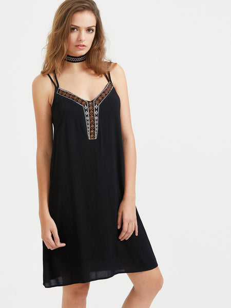 Black V-Neck Tribal Embroidered Criss Cross Back Cami Dress