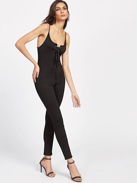 Black Plunging Neckline Open Back Lace Up Cami Catsuit