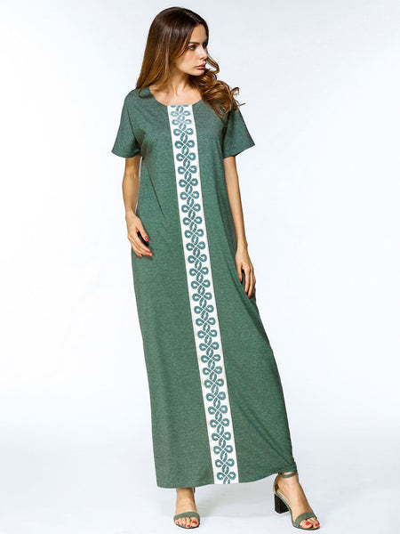 Green Round Neck Embroidered Tape Cocoon Dress