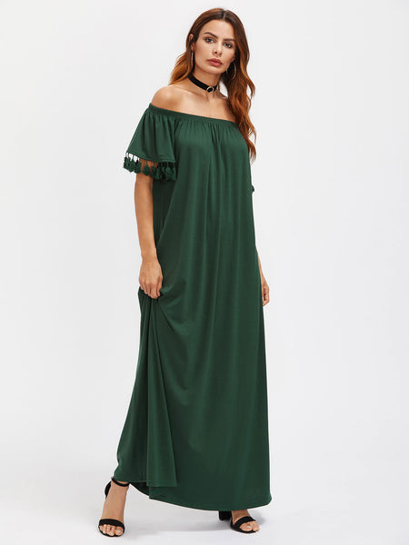 Green Off Shoulder Short Sleeve Tassel Trim Maxi Dress