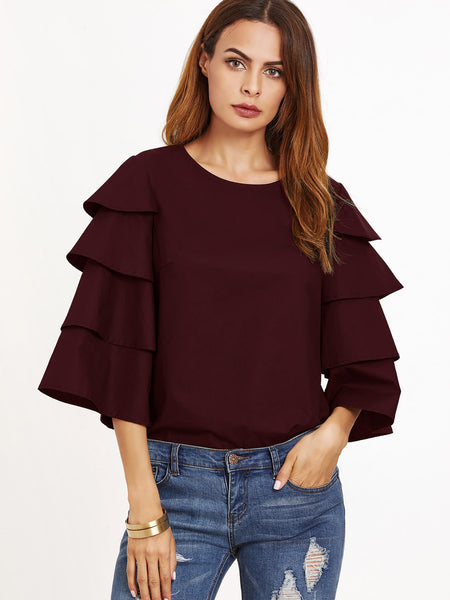 Burgundy Round Neck Layered Bell Sleeve Buttoned Keyhole Blouse