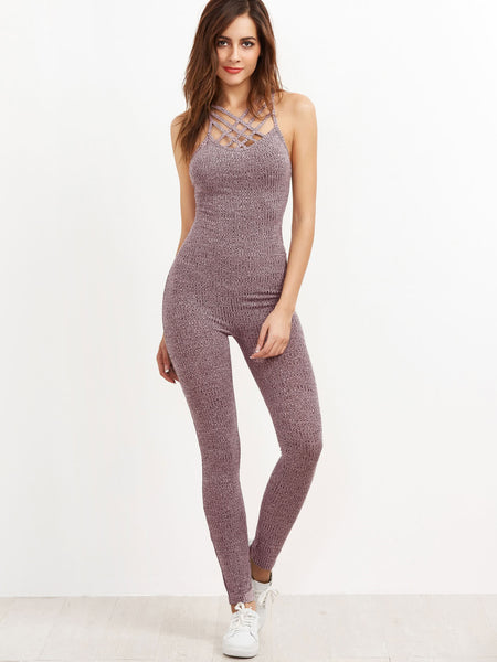 Burgundy Criss Cross Back Marled Ribbed Knit Caged Neck Jumpsuit