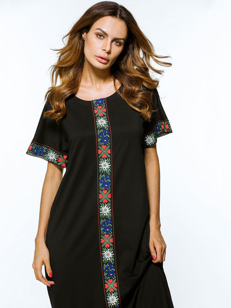 Black Short Sleeve Front Back Embroidered Tape Detailed Dress