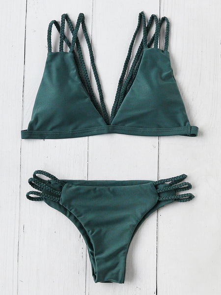 Green Triangle Braided Strappy Back Bikini Set