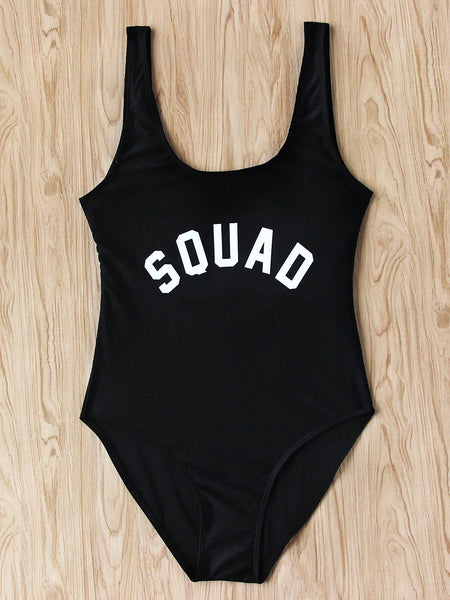 Black Scoop Neck Text Print Beach Swimsuit